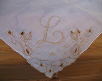 1950's Handkerchief,  Initial L Monogrammed Hanky