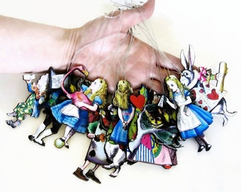XL Alice in Wonderland Christmas Tree Ornaments Extra Large Set of 10 Home Holiday Decor Mad Hatter Cheshire Cat Queen of Hearts Kitsch Gift