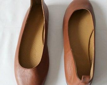 SALE FLATS! Tobacco Leather flats, leather flats,