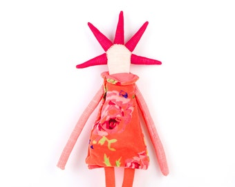 Soft sculpture  - stuffed toy - Ooak rag doll with cool oxblood spikes , orange tropical floral dress & corduroy pants. timo handmade doll