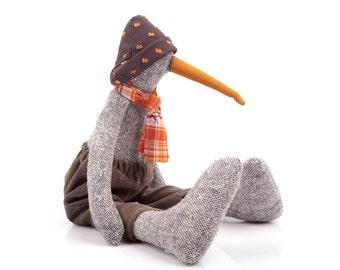 Bird rag doll , Soft Bird plush ,Fabric bird doll ,eco woven gray pure silk duck doll in brow corduroy ,hat & Orange plaid scarf, geese doll
