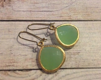 Mint Gold Framed Glass Dangle Pendant Earrings, Mint Earrings, Gold Plated Earrings, Mint Jewelry, Spring Jewelry, Pastel Green Earrings