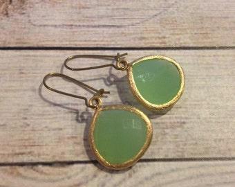 The Lucia Earrings | Gold Framed Mint Dangle Pendant Earrings | Mint Earrings | Gold Plated Earrings | Mint Jewelry | Pastel Green Earrings