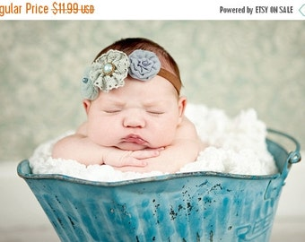 10% off SALE Baby, infant, toddler. teen, adult, Newborn Photo Prop The triple sprinkled- Charlea BLUE- stretch headband