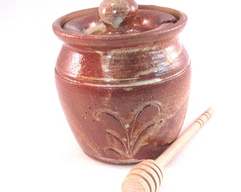 Honey Pot - Handmade Jar - Canister - Lid and Dipping Stick - Earth tone Brown -  Decorated Pottery - Speckled Cream