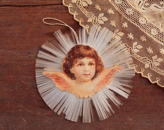 Antique Victorian Christmas Ornament - Scrap Angel with Spun Glass Halo