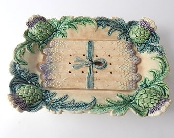 French Vintage Majolica / Barbotine Asparagus Server from Fives-Lille