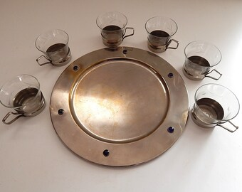 Art Deco Tea Service with Glasses in Holders on a Metal Tray from Prague LOWER PRICE