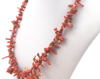 VINTAGE Branch CORAL Sterling Silver Snake-design Clasp NECKLACE Summer