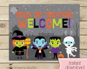 Trick or Treat Sign - Halloween Welcome Sign - Halloween Printable Sign - Halloween Sign - Halloween Party Signs - Halloween Decor - Instant