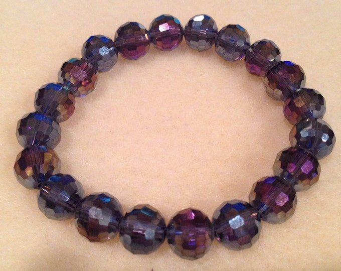 Purple Aurora Iridescent Faceted Crystal Glass Bead Stretch Bracelet with Sterling Silver Accent