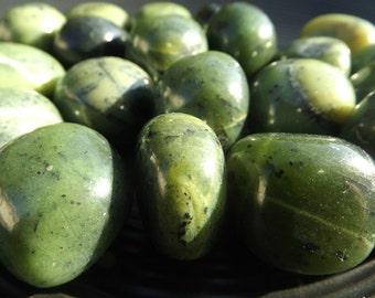 Nephrite Jade - tumbled stone, dream work, lucid dreams, money, wealth, abundance, good luck, heart chakra