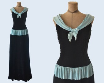 1940s Black and Teal Velvet Dress size M