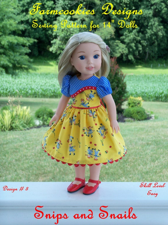 "WELLIE WISHER® PDF Sewing Pattern: Snips and Snails / Sewing Pattern for 14"" American Girl  Wellie Wishers®"