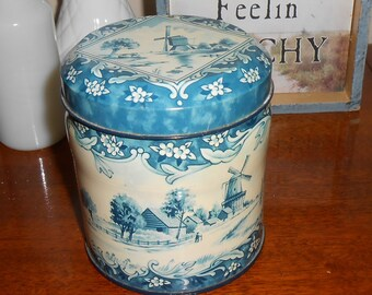 Daher Blue and White Windmill Tin Made in England