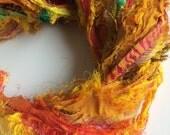 Recycled sari silk ribbon. Unique eyelash edging. Amazing texture. Pure iredescent raw silk sari ribbon.