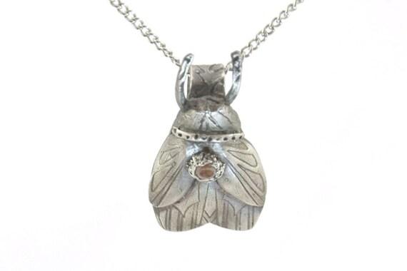 Amber CZ Silver Bug Pendant -nature theme jewelry- Silver Bug Jewelry -Art Deco Silver Necklace