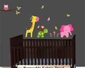 Giraffe Wall Decal, Monkey decal, Pink Elephant, Nursery Decal Sticker, Over Crib Decal, Green Turtle Decal, Jungle Animal Decals - as515pk