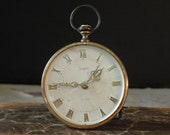 Vintage / Antique Urban Industrial Sheffield Alarm Clock / Brass Alarm / West Germany / Shelf Decor / Retro Alarm