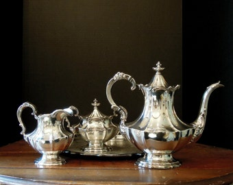 Vintage  Silver Plate Coffee  Pot / Creamer and Sugar / Reed and Barton / Victorian Pattern / 1930-1940's