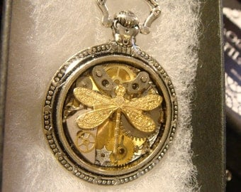 Clockwork Dragonfly Steampunk Pocket Watch Pendant Necklace -Made with Real Watch Parts (2144)
