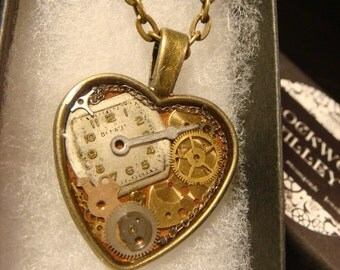 Clockwork Heart with Vintage Watch Parts Steampunk Style Necklace  in Antique Bronze (2194)