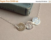 Valentines Sale / 1 2 3 4 5 6 7 8 Initial Disc Personalized Necklace, Tiny Initial Disc Sterling Silver Necklace,  Mother Child Necklace, Fa