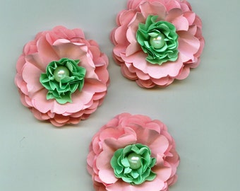 Baby Girl Peony Paper Flowers in Light Pink and Sea Foam Green