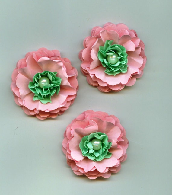 Baby Girl Peony Paper Flowers In Light Pink And Sea Foam