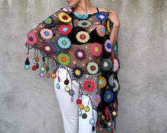 Butterflies of the Amazon...Women Accessories, 100% cotton, Colorful, Crochet shawl, black background, multicolor...