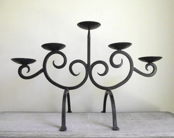 Wrought Iron Candle Holder , Modern Rustic Scroll Black Iron Candelabra , Gothic Vintage Candle Holder , 5 Tier Candelabra , Fireplace Decor