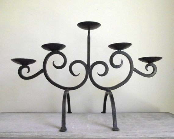 Wrought Iron Candle Holder Modern Rustic Scroll Black Iron