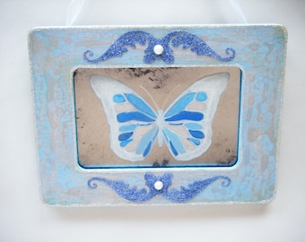Sale! Blue Butterfly Antiqued Mirror Shabby Chic French Country Vintage Style Cottage Wall Decor