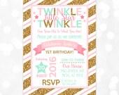 Girl Birthday Invitation – Twinkle Twinkle Little Star Birthday Invite Gold Glitter Coral Mint Printable Digital Download Invite (Item #5)