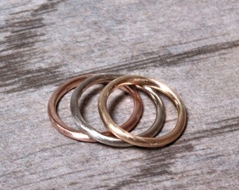 Women's 2mm Round Gold Wedding Band, Pudgy Recycled 14k Palladium White Gold Ring Brushed Gold Wedding Ring or Stacking - Made in Your Size