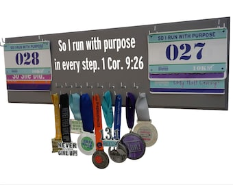 Running medals display rack - inspirational quote on medals display rack, So I run with purpose in every step. 1 Cor. 9.26