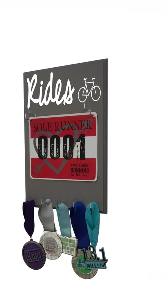Bike: cycling medals and bibs display - For those who love Biking and racing - also available in bold font
