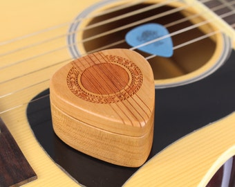 "Guitar Pick Box, Solid Cherry Hardwood, 2-1/4"" x 2"" x 1 D"", Pattern G37 deep, Laser Engraved, Paul Szewc, Masterpiece Laser"