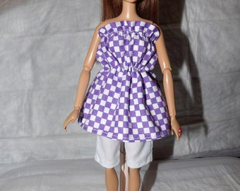 Purple & white checked top and white capri shorts for Fashion Dolls  - ed865