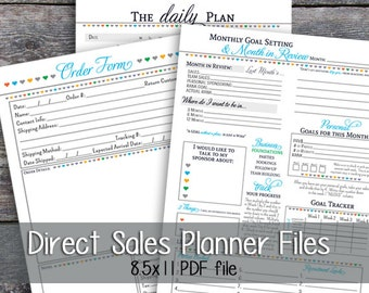 Direct Sales - Interactive Monthly Goal Tracker  Order Form Bundle - Printable - Digital - Heart Pattern - Instant Download - #247