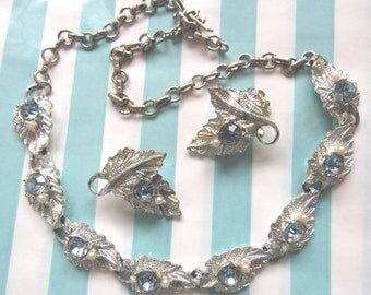 Baby Blue Leaf Light Blue Crsytal and Pearl Demi Parure Necklace Earring Set