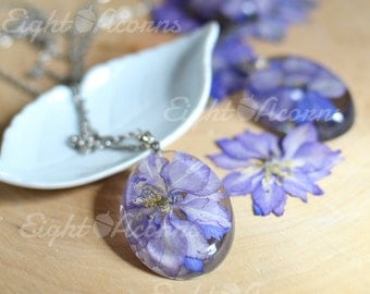 Real flower jewelry - blue delphinium flower nature Necklace- larkspur, flower jewelry, gift for a woman, flower girl gift