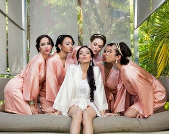 Bridesmaid Robes Coral Peach wedding robes bridesmaid silk robe dressing gown personalized silk robe kimono robes floral robe bridal robe