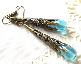 turquoise dangle earrings turquoise jewelry dangle earrings turquoise and bronze earrings filigree earrings