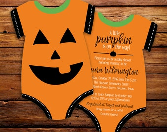 little pumpkin baby shower invitations, halloween invites, jack o' latern, halloween baby shower, bodysuit Die Cut shaped, set of 10 printed