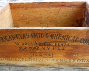 SALE! American Cyanide & Chemical Corp Wood Crate Box