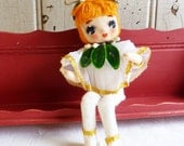 Vintage Christmas Poseable Doll with Silk Stocking Face - Christmas Elf Doll - Made in Japan Pose Doll - Mid-Century 1960s