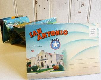 Vintage San Antonio Texas Souvenir Postcard Folder - 1940s - Alamo, Transit Tower, Animal Kingdom, Brackenridge Park