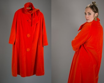 Vintage 1960's Marguerite Rubel San Francisco Bright Red Velveteen Swing Coat with Large Mod Buttons Retro/Hip Women's One Size Fits Most