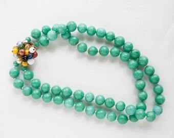 Teal Green Bead Necklace Choker Vintage Bride Wedding Funky Boho Bohemian Jewelry 1960s Fashion